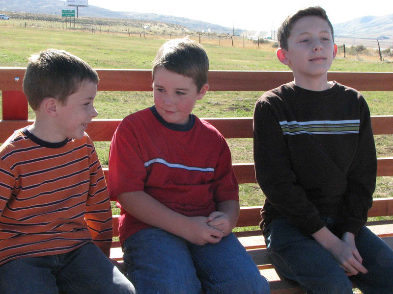 Lucas, Landon and Max on the tractor ride.<br /> October 28, 2006