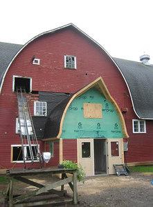 A new barn entrance under construction