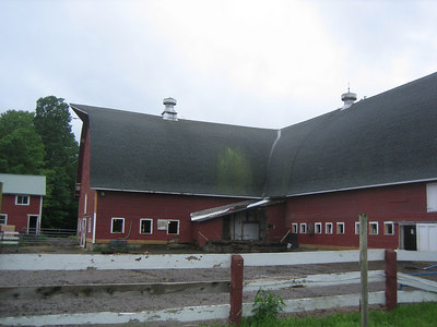 The barn just after removal of one silo.
