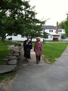Ros and Sophia walking to Sing.