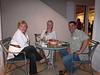 Christine Barggren (decorator), Lori Kane (bow-maker extraordinaire) & Eric Munoz (decorator) enjoy the outside seating.