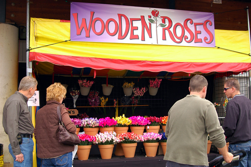 Wooden Roses at the fair.