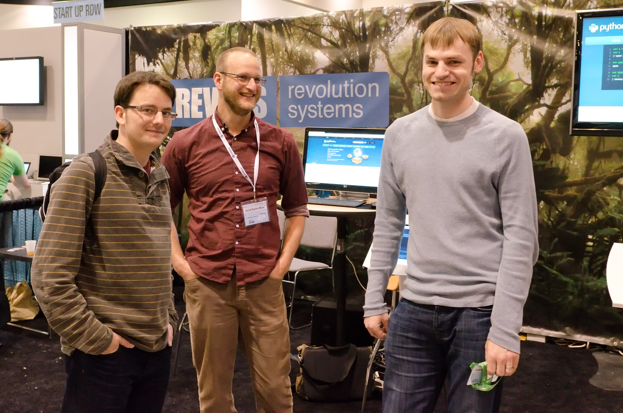 Original creators of Django meet up in person for the first time in a really long time at the RevSys booth.