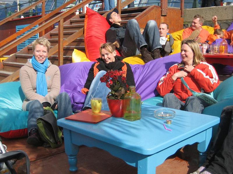 A bright, sunny and warm day in Spring at beachclub BoraBora in Scheveningen with Fleur, Petra and Femke