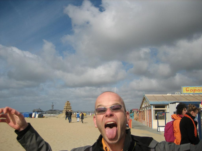 Martin on the beach of Scheveningen... time for your medication again, Martin? ;)