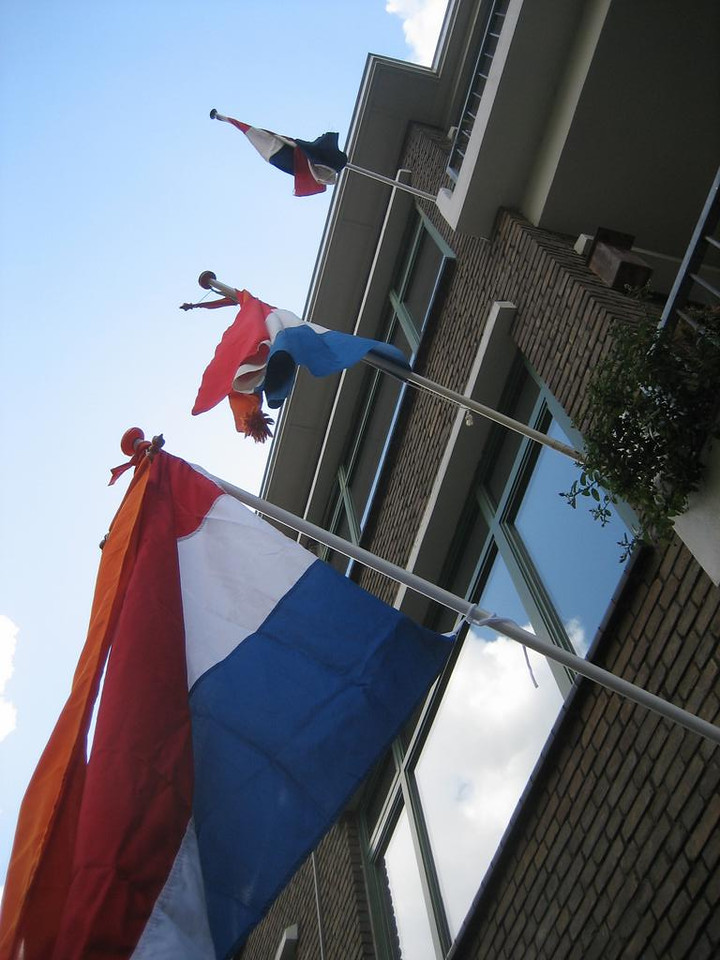 """Dutch flags with orange """"wimpel"""" to signify a royal aspect. Orange is the color of the Dutch """"House of Orange"""", our royal family"""