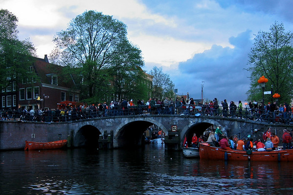 Queens Day <br /> Amsterdam 2008, The Dutch National Holiday.<br /> <br /> Still partying on Prinsengracht