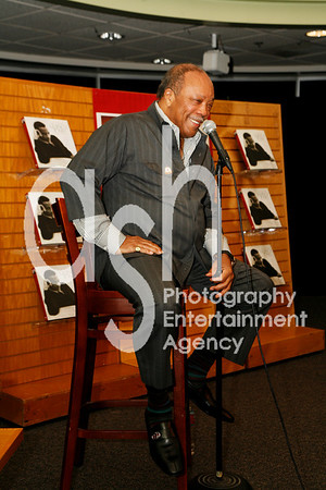 "Quincy Jones @ Borders Bookstore in Westwood, Los Angeles, CA for conversation with Goeff Boucher of LA Times and book signing for his new book ""The Complete Quincy Jones: My Journey & Passions""."