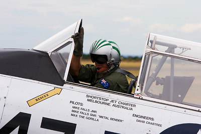 Pilot - Mike FALLS Snr - gets the go ahead to take off RAAF Museum - Point Cook - Australia