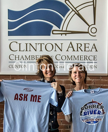 Mardell Mommsen and Cathy Crosser, members of the Clinton RAGBRAI XL committee, display commemorative event shirts that will be available to volunteers as well as supporters at Fun After Five at the Candlelight Inn. • Submitted photo