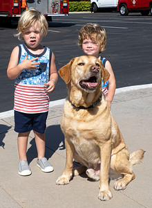 Brothers with police dog