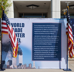 Sign explaining the steel beams from the World Trade Center