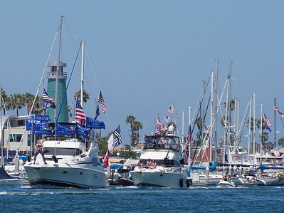 Hundreds of boats supporting President Trump peacefully cruised the harbor