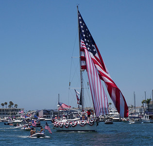 The parade featured boats and flags of all sizes.
