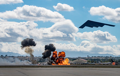 B2 bomber and simulated bombing---composite photo
