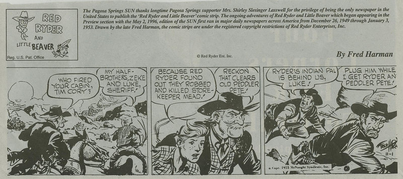 sample of Fred's weekly comic strip in the 1950s.