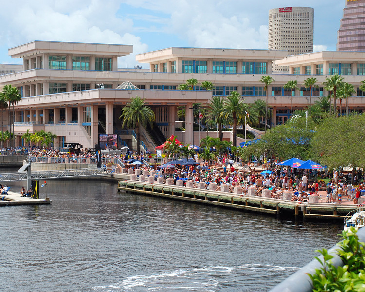 The crowd at the Convention Center side of the channel.