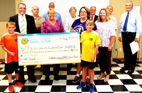 Debbie Blank | The Herald-Tribune<br /> The $2,000 grant to the Ripley County Soccer Club will be spent on supplies.