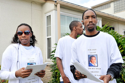 The Los Angeles Police Department, Crime Stoppers Los Angeles have partnered with Carson Councilmember Mike Gipson and wife LaCresha to reopen the unsolved case of the murder of their 3 year old son D'Ancee Nataniel Barnes who was killed by a hit-and-run driver March 18, 1989. a $50,000 reward was initiated for information that leads to the arrest & conviction of the suspected driver.  (Photo by Valerie Goodloe)