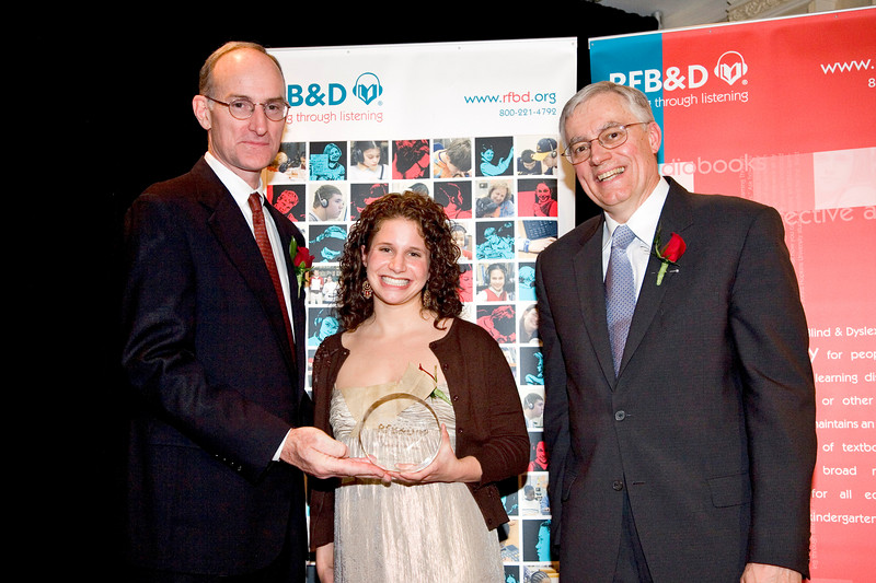 "BELLEVUE RESIDENT HONORED AS 2006 NATIONAL ACHIEVEMENT AWARD WINNER BY RECORDING FOR THE BLIND & DYSLEXIC®<br /> <br /> Amherst College student to be recognized at national nonprofit's awards celebration in New York City                         <br /> <br /> February 5, 2007 (Princeton, NJ) — Juliet Silberstein remembers the day her parents sat her down and told her she wasn't ""stupid,"" but ""… that I had a thing called dyslexia, which was merely hiding my intelligence."" Prior to the revelation, Silberstein would feign ailments and dread the daunting books and taunts at school. Since the diagnosis, her intellect has been unlocked, and she has soared academically to a 4.13 GPA. Silberstein's extraordinary scholarship, leadership, enterprise and service to others led to her selection by Recording for the Blind & Dyslexic (RFB&D®) as one of three top winners of the 2006 Marion Huber Learning Through Listening® (LTL®) awards. RFB&D is the nation's educational library of recorded textbooks for students with visual impairment, learning disabilities or other physical disabilities that make reading standard textbooks difficult or impossible.<br /> <br /> Utilizing multi-sensory reading techniques, including RFB&D's audiobooks, Silberstein's academic performance and love of reading and learning was unleashed. ""I finally understood the lines…I started comprehending the book's powerful meaning,"" she says. ""Through the support of programs such as RFB&D, I and thousands of other students have the support and resources to learn and achieve.""<br /> <br /> A top student in her American literature class, the Bellevue resident earned A's in AP chemistry and AP calculus. This led to her working as a genetics research assistant with renowned cancer genetics researcher Dr. Henry Lynch at Creighton University. She and Dr. Lynch coauthored a paper based on their research that was published in the peer-reviewed journal Cancer Genetics and Cytogenetics. Seeing the potential to help future generations, Silberstein is planning on becoming a physician after graduating from Amherst College in Massachusetts. <br /> <br /> RFB&D's National Achievement Awards (NAA) include the Mary P. Oenslager Scholastic Achievement Awards (SAAs) for college seniors who are blind or visually impaired and the Marion Huber Learning Through Listening awards for high school seniors with learning disabilities. In all, RFB&D bestows more than $50,000 in awards to deserving students each year. RFB&D will recognize Silberstein and the other winners at its NAA event held in New York City on April 12, 2007. <br /> <br /> ""RFB&D's National Achievement Awards recognize the accomplishments of students who are outstanding role models, not only for people with disabilities, but for all of us who endeavor to reach our full potential as students and as citizens,"" says John Kelly, RFB&D President & CEO.<br /> <br /> RFB&D serves more than 146,000 students from kindergarten through graduate school and beyond, including nearly 1,000 in Nebraska, with its one-of-a-kind collection of educational titles on CD. RFB&D's AudioPlus® digitally recorded textbooks on CD provide unprecedented navigation, ease of use and proven effectiveness as learning tools for students with print disabilities. Students rely on RFB&D's unique accommodation to access the printed page and to achieve educational success. All of RFB&D's accessible titles are recorded by volunteers working in 29 recording studios nationwide.<br /> <br /> For information on RFB&D, volunteering or making a donation, call toll-free 866-RFBD-585 (866-732-3585) or visit RFB&D's accessible website at  <a href=""http://www.rfbd.org"">http://www.rfbd.org</a>.<br /> <br /> Photo caption: (left to right) RFB&D President & CEO John Kelly; LTL winner Juliet Silberstein; RFB&D National Board Chair Richard V. Cox.<br /> <br /> <br /> EDITORS NOTE:  Interview opportunities are available by calling Mark Zustovich at 609-520-7993, or after hours at 609-610-4508.<br /> # # #"
