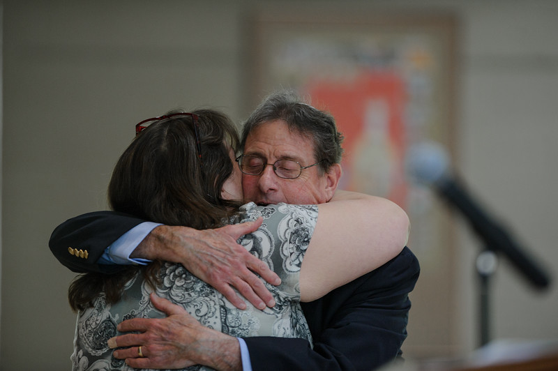 5/22/16 with story--  Rabbi Alan Alpert hugging Ellen Lawlor after she sang a solo for the Rabbi in celebration of Rabbi Alan and Meryl Alperts 18 years at Congregation Agudat Achim in Leominster on Sunday. Sentinel & Enterprise photo/Jeff Porter