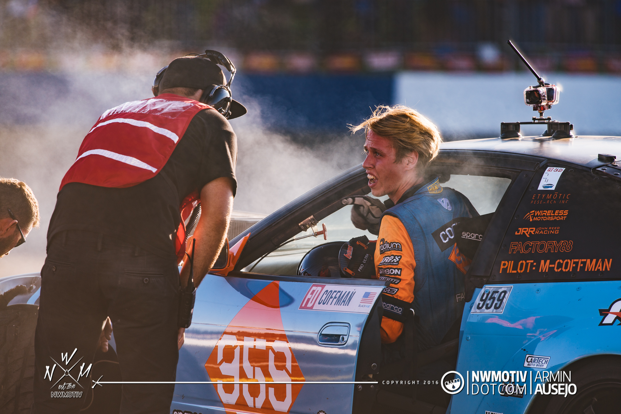 Matt Coffman trying to get his car off the track