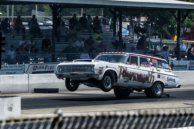 Plymouth Drag'N Wag'N wheelstand at NHRA Hot Rod Reunion