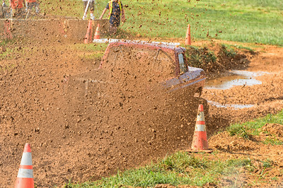 "Large rooster tail of mud at ""Hot as a Mudder"" Mud Bog"