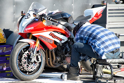 Working on a Yamaha in the pits at WERA Summit Point