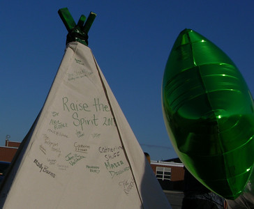 Signatures on the teepee at Raiderfest 2013.