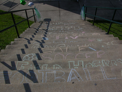Each of Twin Valley's fall and winter sports was featured in chalk on a step heading down to the football stadium.