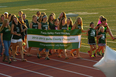 The 2012-13 Berks County champion Twin Valley field hockey team is recognized at Raiderfest 2013 at Twin Valley High School Aug. 24.
