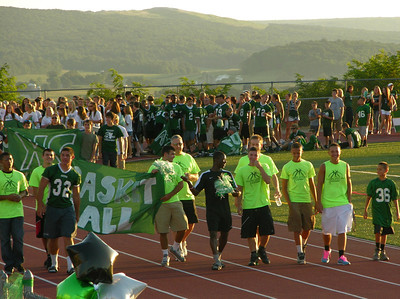 The TVHS basketball team kicks off the parade of athletes at Raiderfest 2013 at Twin Valley High School Aug. 24.