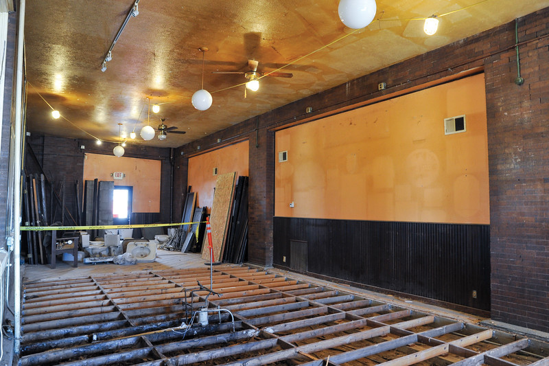Ashleigh Fox | The Sheridan Press<br /> Construction crews exposed floorboards Thursday, March 15, 2018, where a bar used to reside during the railroad station's tenure as Rails Brews and Cues. This section was historically the outdoor platform that sat right next to the railroad tracks. New plans will transform this into a kitchen space.