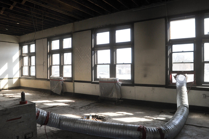 Ashleigh Fox | The Sheridan Press<br /> The second floor of the railroad station on Broadway Street sits partly deconstructed Thursday, March 16, 2018. The second floor will become office spaces available for rent.