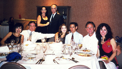 (L-R) Peggy and Tom Cox with their daughter and date, Karen and Marty (back row), Linda Garcia and her date.