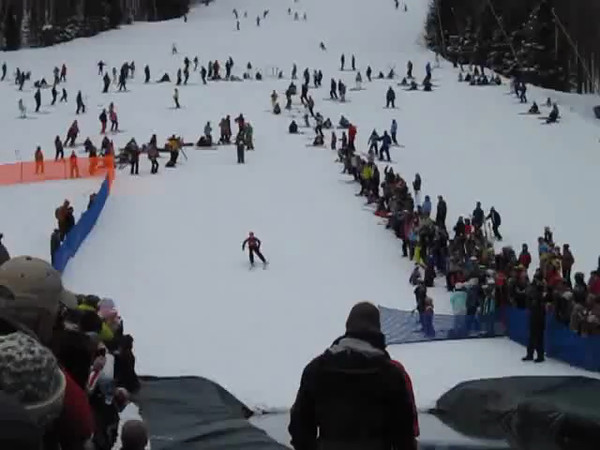 "Pond skimming at Holiday Valley.  Some great ""crashes"" and it was cold!!"