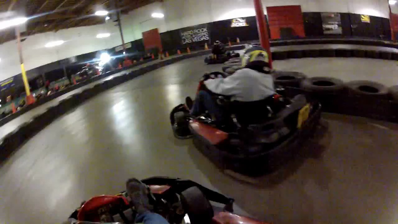 Indoor go karting in Las Vegas.  The gas powered karts are much better than the electric.