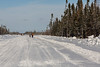 Walkers along the road north of Moosonee.