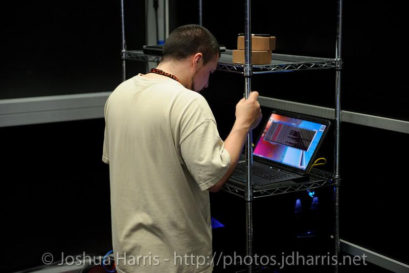 Jeff Berube getting the servers going