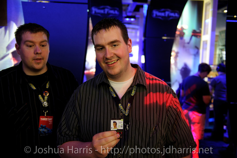A fan with an ID badge from PAX Prime 2010