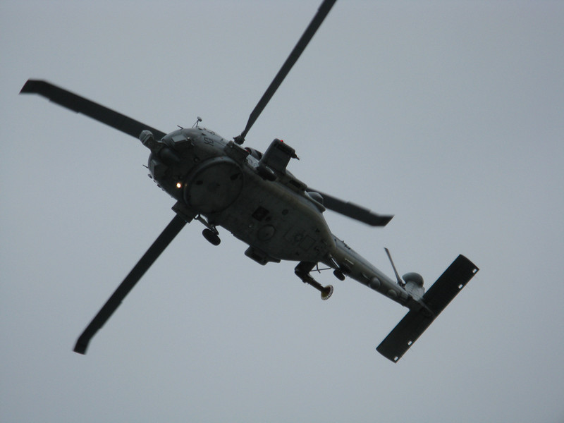 Navy helicopter overhead.