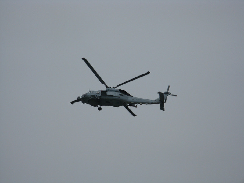 Navy helicopter fly by during the opening activities.