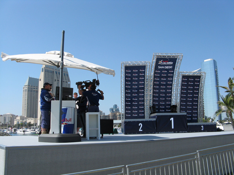 The announcers and the podium.