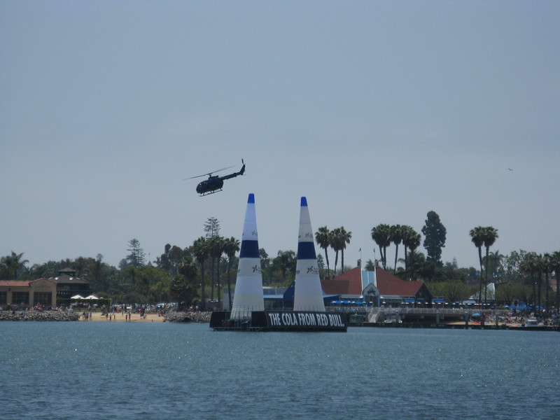 The helicopter videos the races. Here it is flying the course for the TV audience.