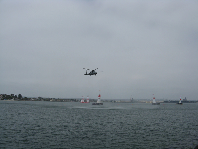 The helicopter hovering created quite a spray on the crowd.