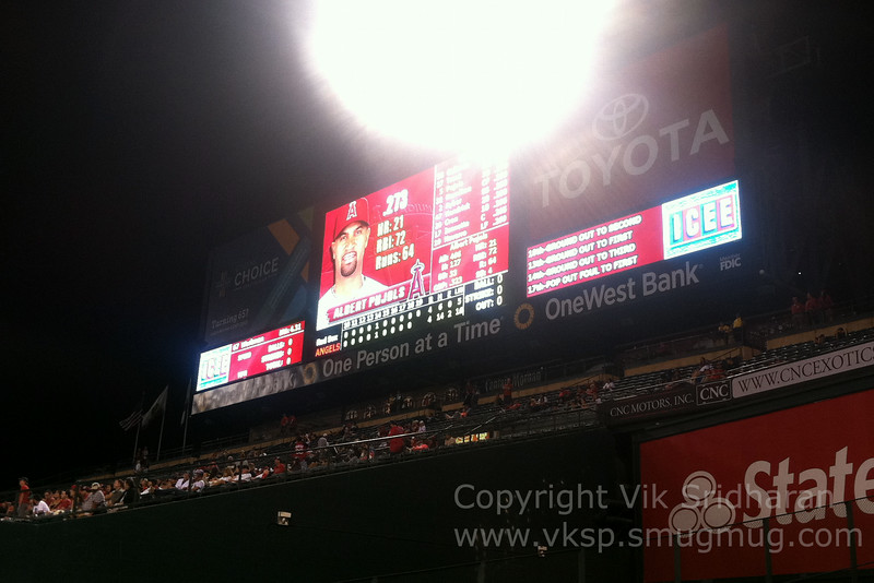 Middle of the 19th.  4-4, but the Angels would win it in the bottom half.
