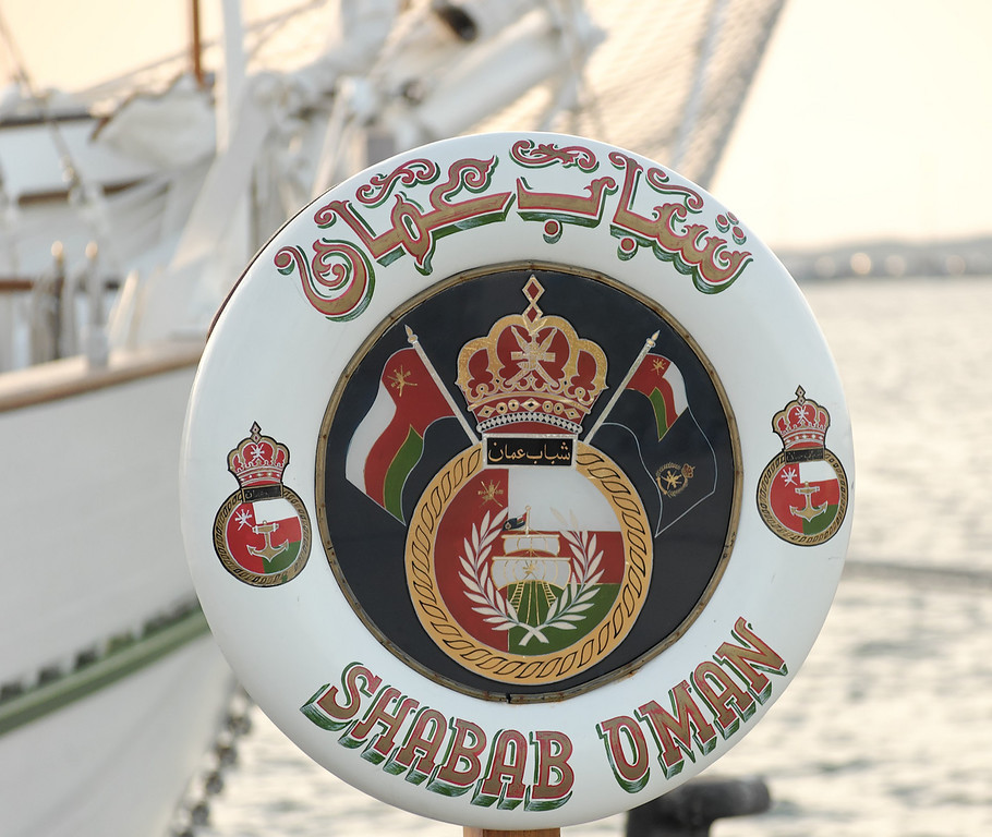 Shabab Oman [Oman]<br /> Shabab Oman is now a barquentine, but was launched in 1971 as a topsail schooner called Captain Scott, which operated out of Scotland for the Dulverton Trust. The Trust ran outward bound courses for young people lasting 25 days during which time they would be dropped ashore for mountain expeditions and climbing. Captain Scott was laid up in 1975, but bought by the Sultan of Oman in 1977 and renamed Youth of Oman.<br /> In 1979, she was transferred to the Omani Navy and her name converted into Arabic. In 1984, she was converted to a barquentine. Shabab Oman is a regular in The Tall Ships' Races and large tall ships gatherings around the world, flying the flag for Oman. She is recognised by the red dagger and crossed swords, the national symbol of Oman, on her topsails.