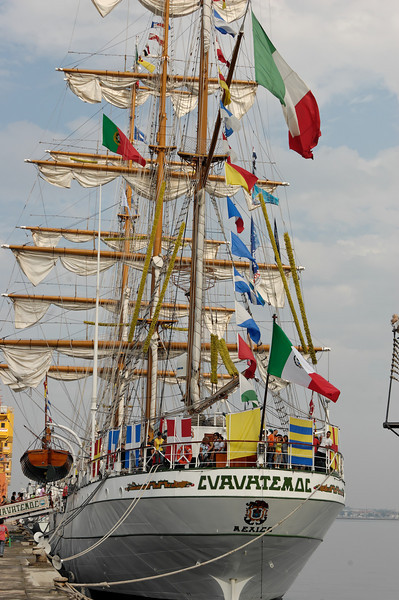 Cuauhtémoc [Mexico]<br /> Cuauhtémoc was built in Bilbao, Spain in 1981 and originally called Celaya. She was later acquired by the Mexican Navy as a training vessel for officers, cadets, petty officers and sailors. Cuauhtemoc sailed the world for thirteen years and in 1995 underwent a major refit of the ship and rigging.<br /> Cuauhtémoc has been the proud winner of the Tall Ships' Races on two occasions.<br /> The Mexican Navy is a national military organization of permanent character, whose main objective is aimed at using its naval power for defense purposes and cooperating on national security issues. Some of its attributions are to:<br /> •Organize, train, enroll, equip and direct forces under the command of the Navy for the accomplishment of its overall mission and the full exercise of its functions.<br /> •Cooperate with the Mexican Government by safeguarding the legal framework.<br /> •Carry out different activities in order to safeguard and protect the sovereignty of the State. Similarly, the Mexican Navy shall defend its territorial seas, both maritime and land areas, islands, cays, reefs, baseboards, and continental platforms. Furthermore, protection includes lakeside areas and rivers, where possible, and the national aerospace. Also, the Navy shall protect the rights of its sovereignty within the Exclusive Economic Zone.<br /> •Protect maritime, lakeside and river traffic within its territorial jurisdiction as directed by the Supreme Command. In this regard, the Navy shall establish the necessary control areas that depend on the Supreme Command along with law enforcement agencies through settlements that shall include aerospace as established by law.