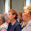 "From left, Mary Oaks Shea, Ann Burwinkel Murray, Pat Martin Benken, and Philomina Picciano Dillhoff sing during the liturgy recognizing the ""Regina Girls."""